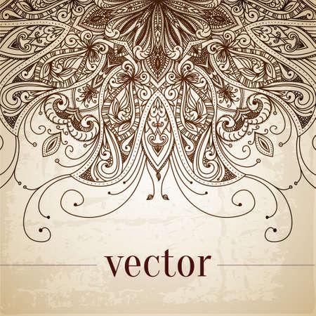Vintage vector patroon. Hand getrokken abstracte achtergrond. Decoratieve retro banner. Kan gebruikt worden voor banner, uitnodiging, trouwkaart, scrapbooking en anderen. Royal vector design element. Stock Illustratie