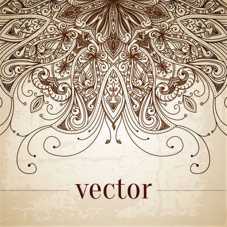 islamic art: Vintage vector pattern. Hand drawn abstract background. Decorative retro banner. Can be used for banner, invitation, wedding card, scrapbooking and others. Royal vector design element.