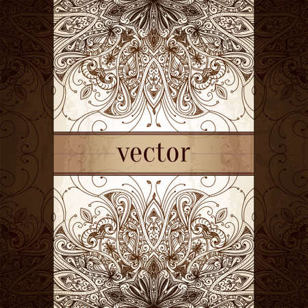 mehndi: Vintage vector pattern. Hand drawn abstract background. Decorative retro banner. Can be used for banner, invitation, wedding card, scrapbooking and others. Royal vector design element.