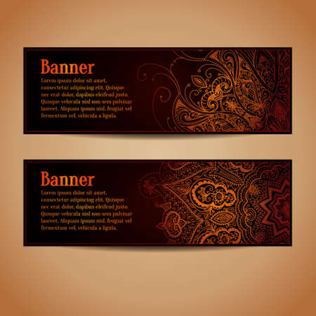 Abstract vector banners design. Banners set with gold floral pattern. Vintage ornament. Horizontal banners. Abstract background can be used for web design, printing, greeting cards.