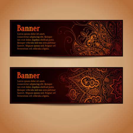 Abstract vector banners ontwerp. Spandoeken met gouden bloemenpatroon. Vintage ornament. Horizontale banners. Abstracte achtergrond kan worden gebruikt voor web design, drukwerk, wenskaarten.