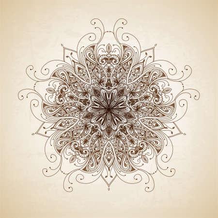 曼陀羅: ビンテージ ベクトル パターン。手描き抽象画の背景。装飾的なレトロなバナー。バナー、招待状、結婚式のカード、スクラップ ブックを使用できます。ロイヤル ベクター デザイン要素。