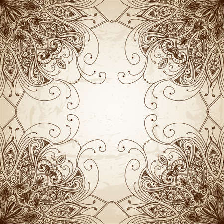 royal wedding: Vintage vector pattern. Hand drawn abstract background. Decorative retro banner. Can be used for banner, invitation, wedding card, scrapbooking and others. Royal vector design element.