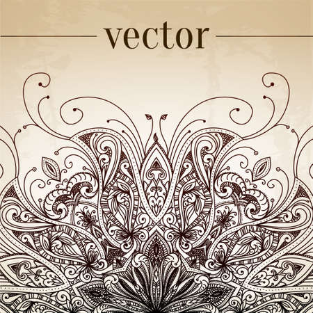 Vintage vector pattern. Hand drawn abstract background. Decorative retro banner. Can be used for banner, invitation, wedding card, scrapbooking and others. Royal vector design element.