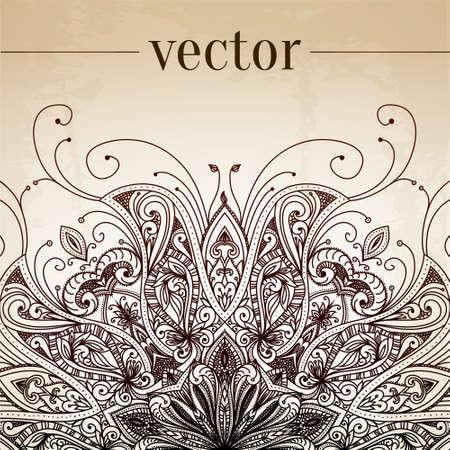 Vintage-Vektor-Muster. Hand gezeichnet abstrakten Hintergrund. Dekorative retro Banner. Kann für Banner, Einladung, Hochzeitskarte, Scrapbooking und andere verwendet werden. Königliche Vektor-Design-Element. Standard-Bild - 27326983