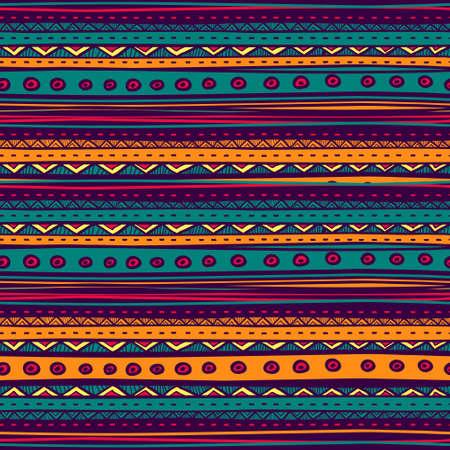 部族のベクトルのシームレスなパターン。手描き抽象画の背景。