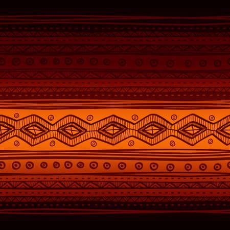 Tribal vector seamless fabric pattern. Hand drawn abstract background. Ilustração