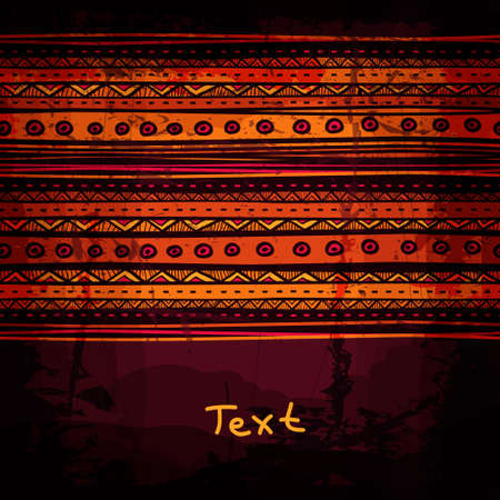 Abstract hand-drawn ethnic design template, tribal background.