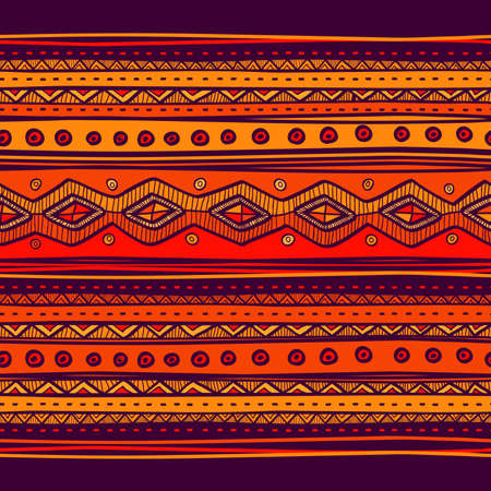 手描きの抽象的な民族パターン、部族の背景。Web ページの背景の壁紙のパターンを使用することができます他の人。明るいベクトル部族のテクスチ  イラスト・ベクター素材