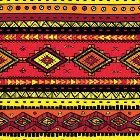 Seamless abstract hand-drawn ethno pattern, tribal background. Seamless pattern can be used for wallpaper, web page background, others. Bright vector tribal texture. Ilustração