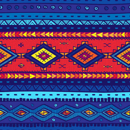 Seamless vector tribal background. Blue background. Vector illustration. Seamless tribal texture look like carpet. Mexican motif.  イラスト・ベクター素材