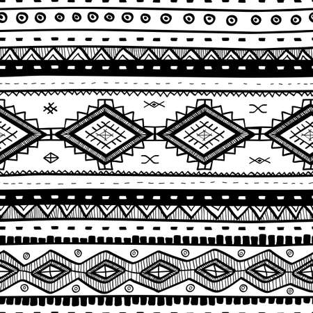 Tribal vector seamless pattern. Hand drawn abstract background. Isolated on white background.  イラスト・ベクター素材