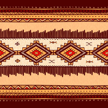 Seamless abstract hand-drawn ethno pattern, tribal background. Seamless pattern can be used for wallpaper, web page background, others.Vintage vector tribal texture.  イラスト・ベクター素材