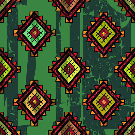 ethno: Seamless abstract hand-drawn ethno pattern, tribal background. Traditional mexican design elements on grunge background. Seamless pattern can be used for wallpaper, web page background, others
