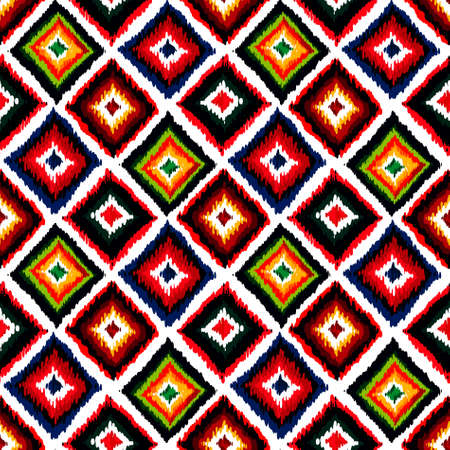 Vintage vector abstract seamless ikat pattern. Colorful seamless vintage background.