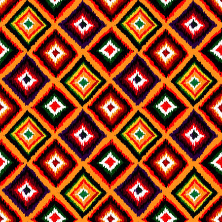 Abstract tribal vector seamless fabric pattern. Hand drawn abstract background. Vector