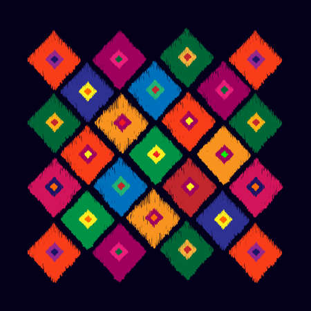 Abstract geometrical pattern from rhombus on black background. Tribal vector pattern. Hand drawn abstract background. Multicolored bright background. Vector illustration look like hand made carpet. Vettoriali
