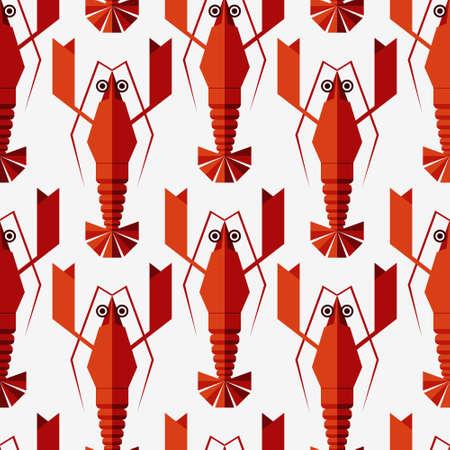 Naadloze abstracte vector patroon met geometrische kreeften. Geïsoleerd op witte achtergrond.