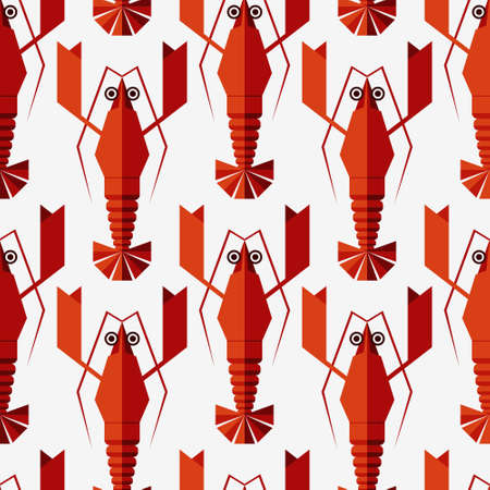 Seamless abstract vector pattern with geometric lobsters. Isolated on white background.