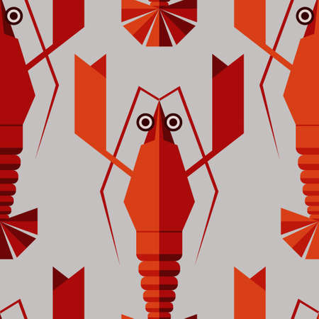 Seamless abstract vector pattern with geometric lobsters. Red lobsters on grey background. Vector