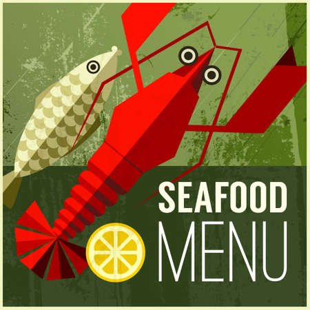 Abstract vector menu poster with fish, lemon, lobster and ' seafood menu' phrase on green grunge background. Vintage poster with food icons. Can be used for bar menu, restaurant menu and other designs Vector
