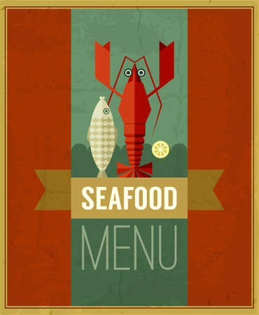 Vector vintage seafood menu poster with fish, lobster and lemon. Retro seafood poster with grunge background and ribbon. Seafood design template can be used for menu cover, flyer, sign etc. Vector