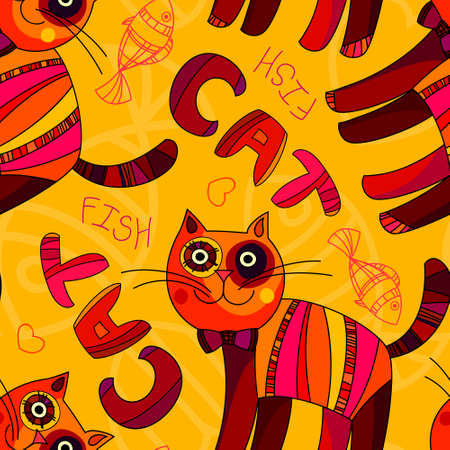 Vector seamless cat and fish pattern in yellow, orange and pink colors. Can be used for kids book cover design, wallpaper, textile, cards and other cases. Pets background. Vector