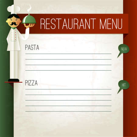 pizza place: Vector italian menu with chef and plate. Menu template in italian flag colors. Pasta and  Pizza word. Menu layout with place for your text. Can be used for banner, poster, web site, flyer, etc.