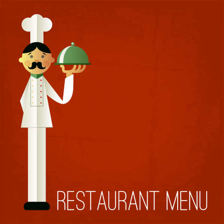 Vintage menu. Retro design template. Vector chefs menu illustration. Cartoon chef with dish on red grungy background. Menu cover design template. Yum! Vector