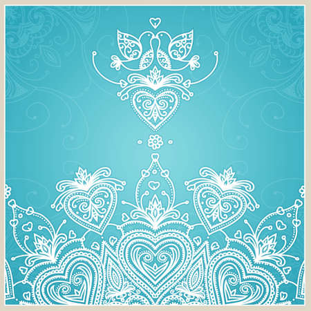 Blue wedding invitation design template with doves, hearts, flowers and geometrical lace ornament. Vector wedding card. Vector