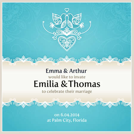 Blue wedding invitation design template with doves, hearts, flowers and geometrical lace ornament. Vector wedding card with text. Vector