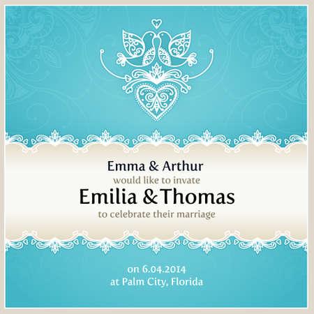ave del paraiso: Invitación azul de la boda plantilla de diseño con palomas, corazones, flores y adornos de encaje geométrico. Vector tarjeta de boda con texto.