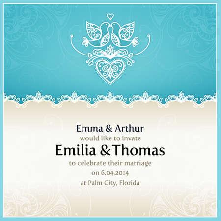 Invito di nozze blu modello di progettazione con le colombe, cuori, fiori e pizzo geometrico ornamento. Vector carta di nozze con area di testo. Modello di progettazione per la stampa e web. Vettoriali