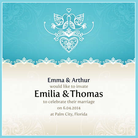 Blue wedding invitation design template with doves, hearts, flowers and geometrical lace ornament. Vector wedding card with text area. Design template for printing and web.