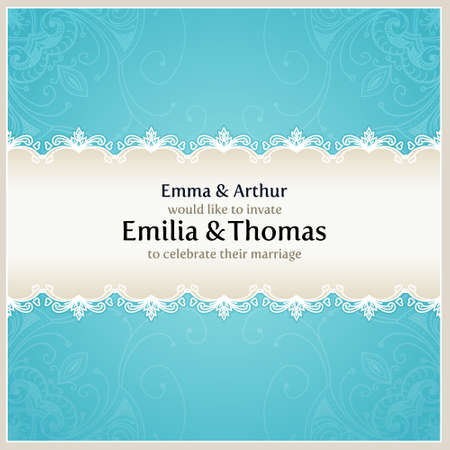 Floral wedding background. Blue vector design template can be used for banners, cards and others. Vector wedding card with text area. Blue vector background can be used for banners, sign, certificate Vector