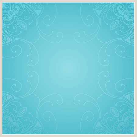 aqua flowers: Abstract background with geometric ornamental frame. Floral frame design can be used for wedding cards and invitations, web site design, printing and other cases.