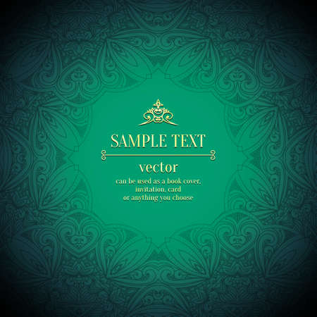 royal wedding: Abstract vector floral ornamental border. Lace pattern design.gold ornament on green background. Vector ornamental border frame. Can be used as a book cover, invitation, card or anything you choose. Illustration