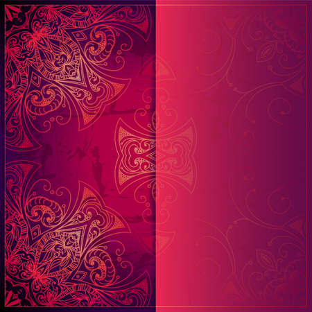 Abstract vector circle floral ornament. Lace pattern design. Vintage ornament on red background. Vector ornamental border frame can be used for banner, wedding invitation, book cover, certificate etc. Vettoriali