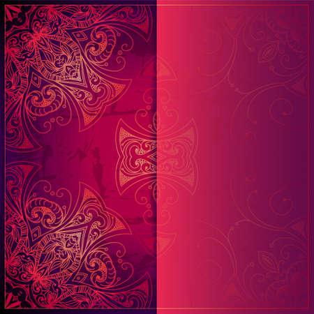 Abstract vector circle floral ornament. Kantpatroon ontwerp. Vintage versiering op rode achtergrond. Vector sier grens frame kan worden gebruikt voor banner, huwelijksuitnodiging, boekomslag, certificaat etc. Stock Illustratie