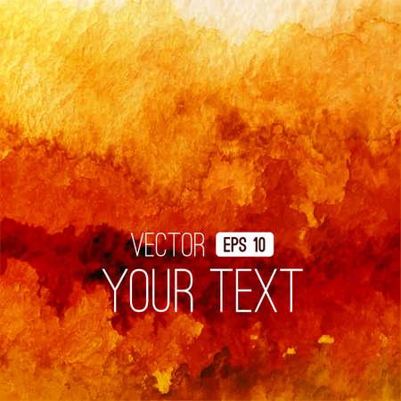 Vector abstracte aquarel achtergrond. Oranje achtergrond. Ontwerp sjabloon met plaats voor uw tekst. Waterverf achtergrond kan worden gebruikt voor de achtergrond van de webpagina, identiteitsstijl, afdrukken, enz.