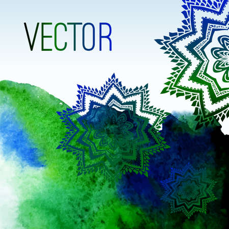 Abstract vector watercolor background with floral ornament. Green and blue background. Design template with place for your text. Watercolor backdrop can be used for web page background, printing... Ilustração