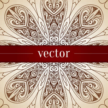 Vintage vector circle floral ornamental border. Lace pattern design. White vintage ornament on blue background. Vector ornamental border frame. Can be used for banner, web design, wedding cards. Vector