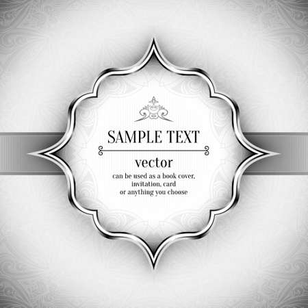 flayer: Vintage vector pattern. Hand drawn abstract background. Decorative retro banner. White background. Black and white background. Black design elements. Silver metallic texture.