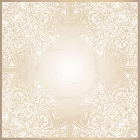 Sfondo astratto con geometrica cornice ornamentale. Disegno floreale telaio può essere usato per le carte di nozze e inviti, design del sito web, stampa e altri casi. Archivio Fotografico - 27325592
