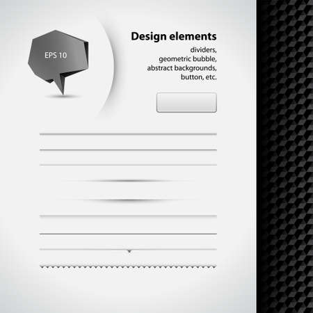 Vector set of simple and clean style design elements. Black and white background. Set of dividers, geometric bubble icon, backgrounds, button. 3d style set can be used for web, UI, banner, infographic Vector