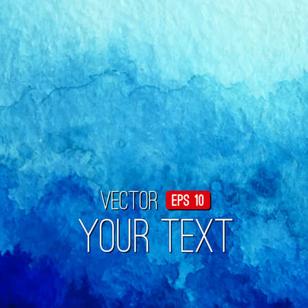 Vector abstract hand drawn watercolor background. Blue watercolor banner template. Painting. Watercolor splash. Vector illustration with empty space for your text. Illustration