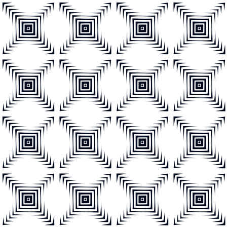 Abstract background. Vector abstract seamless geometric black and white pattern. Repeating geometric tiles with squares. Modern ornament from rhombus. Arrows design elements. Optical illusion. Vector
