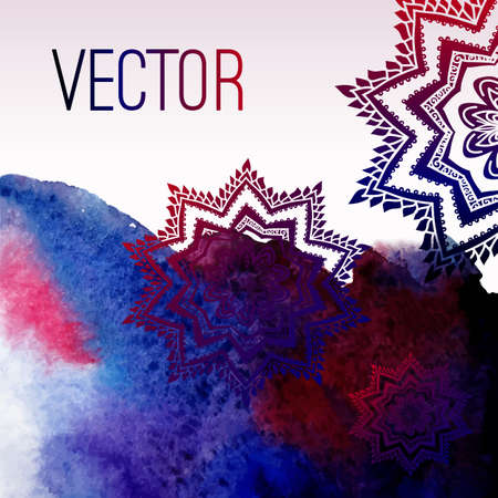 Abstract vector watercolor background with floral ornament. Blue background. Design template with place for your text. Watercolor backdrop can be used for web page background, printing... Ilustração