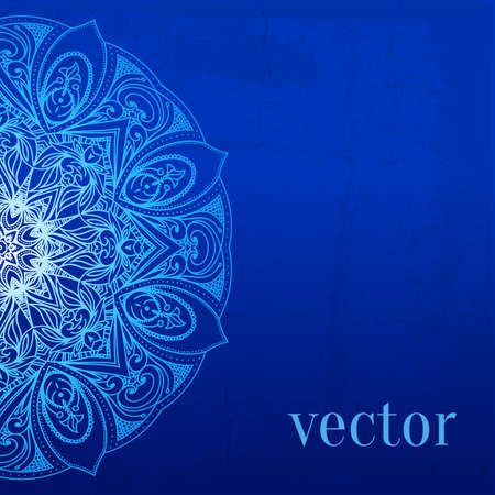 electric blue: Abstract vector circle floral ornamental border. Lace pattern design. White ornament on blue background. Vector ornamental border frame. Can be used for banner, web design, wedding cards and others