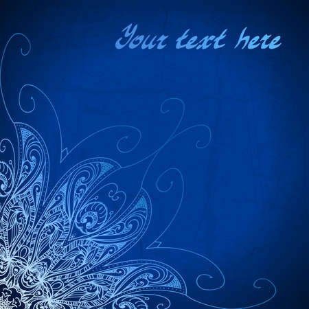 royal blue background: Abstract vector circle floral ornamental border. Lace pattern design. White ornament on blue background. Vector ornamental border frame. Can be used for banner, web design, wedding cards and others